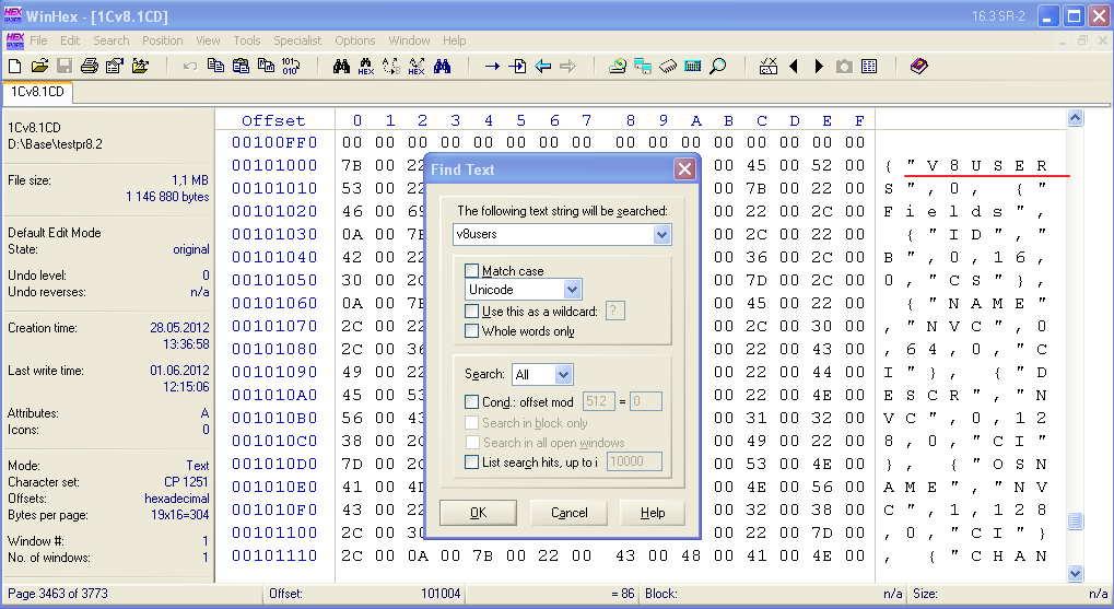 Правим строку в winHex для взлома паролей 1с8.2. . Дальше, как в http.